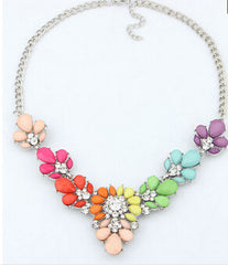 Bohemian Rhinestone Flower Necklace - 10+ Color Options