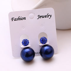 Cute Faux Pearl Crystal Stud Earrings