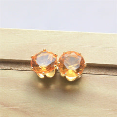 Austrian Cubic Zirconia Crystal Stud Earring - 14 Color Options