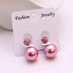 Cute Faux Pearl Crystal Stud Earrings - 19 Color Options