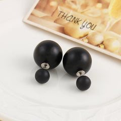 Double Sided Faux Pearl Stud Earrings - 18 Color Options