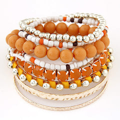 Multi-Layer Beads Bracelet - 9pc Set With 7 Color Options