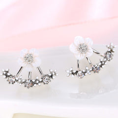 Double Sided Cubic Zirconia Stud Earrings - 3 Color Options