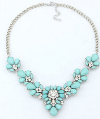 Bohemian Rhinestone Flower Necklace