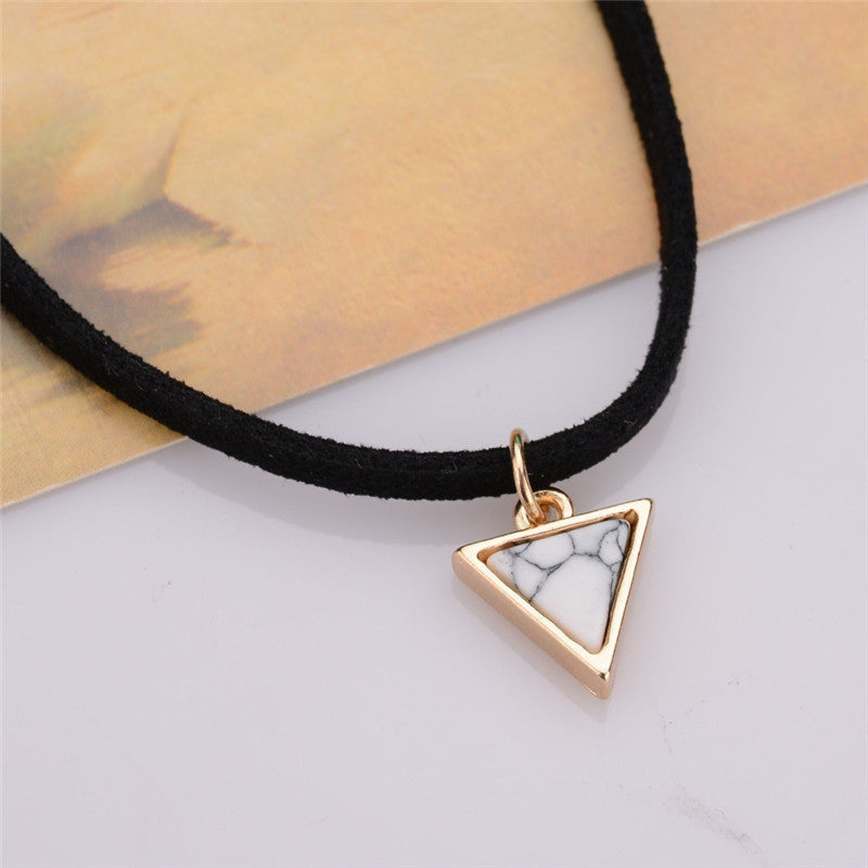 Short Black Velvet Choker Necklace With Triangle Faux Stone From India