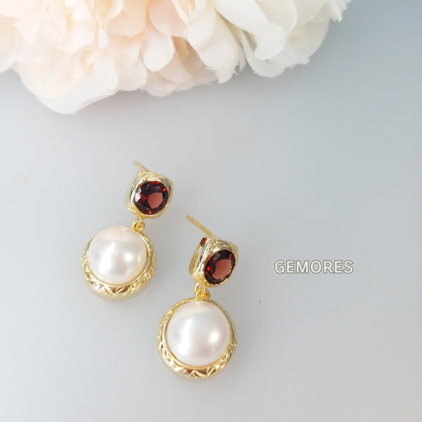 Vintage Imperial sparkling faceted garnet with lustrous pearl bezel earrings