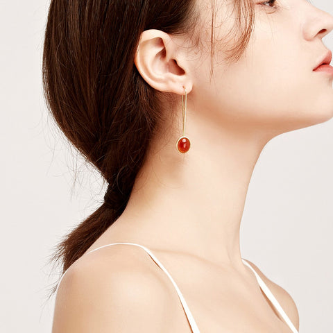 En Saison carnelian gems 18K white gold earrings