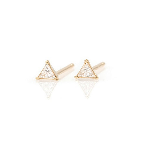 18K Gold Fancy Trillion Diamond Earrings