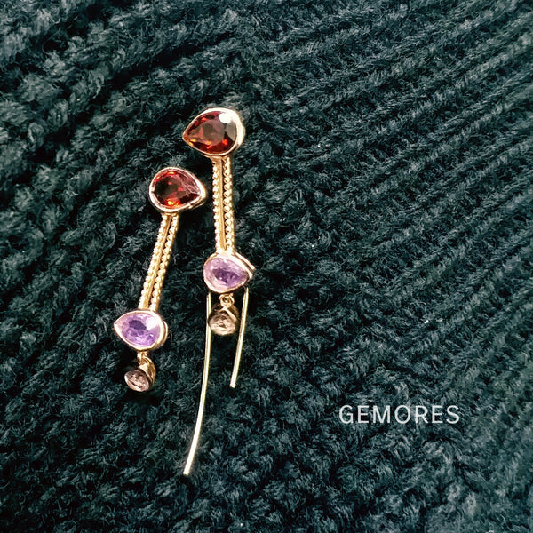 Astrid velvet Garnet amethyst gems earrings