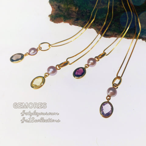 En Saison rose cut gems necklace in gold