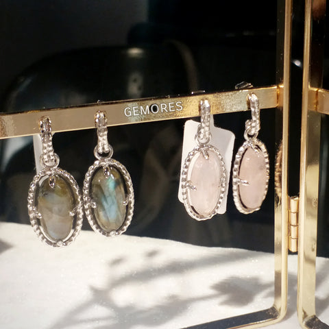 Le Emmalyn Olive oval labradorite earrings in 925 silver