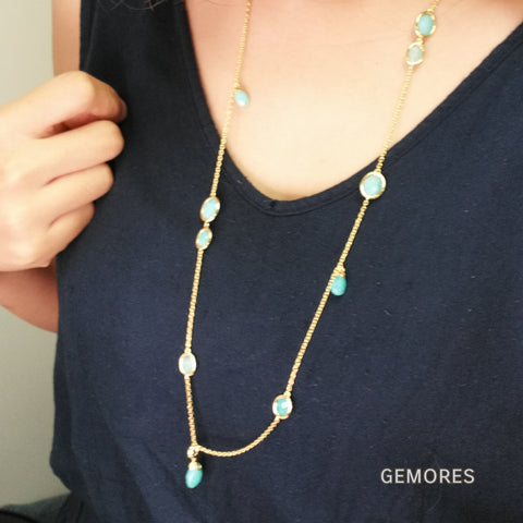En Saison peru amazonite blue long drop necklace