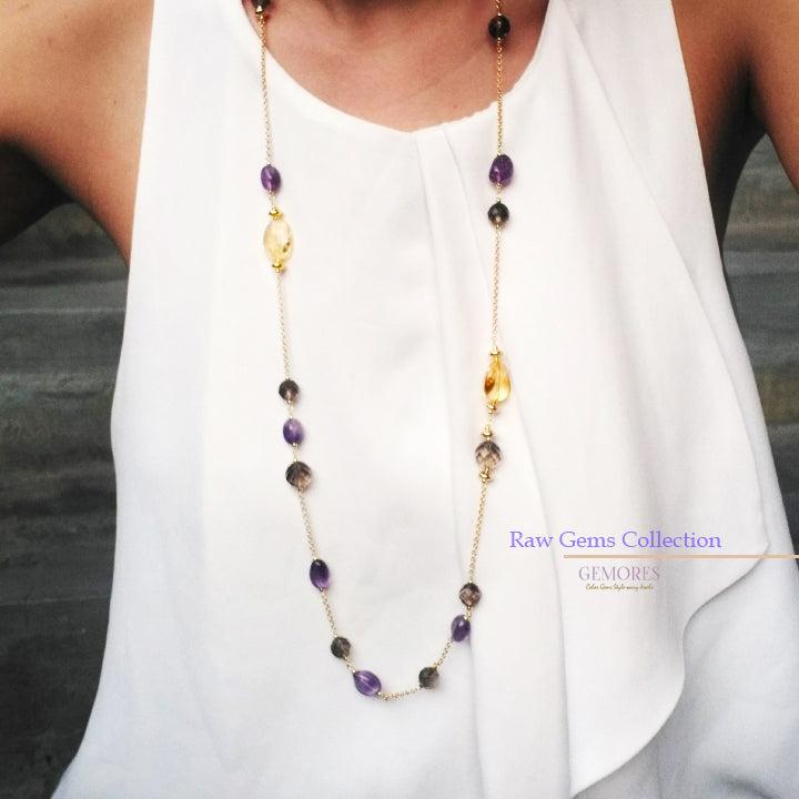 Raw Gems collection citrine with pink amethyst long necklace in 18K gold