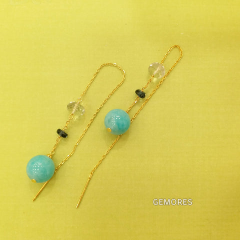 En Saison amazonite 18K gold long Earrings