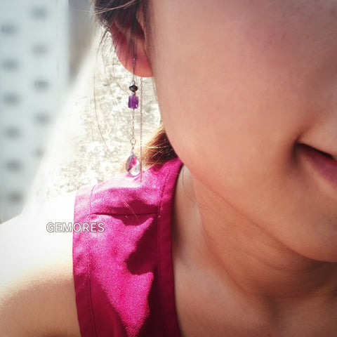 En Saison pink amethyst 18K gold drop earrings