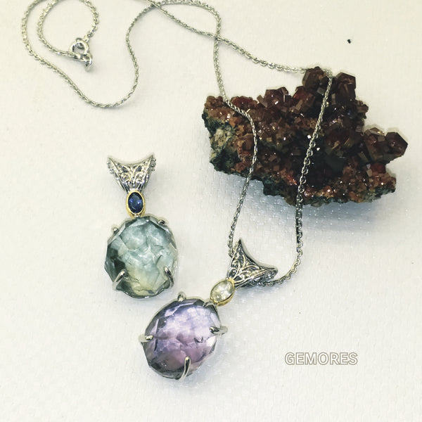 Raw Gems collection natural cut amethyst necklace