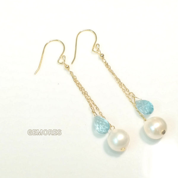 En Saison sky blue topaz X pearls earrings in 18k gold plated