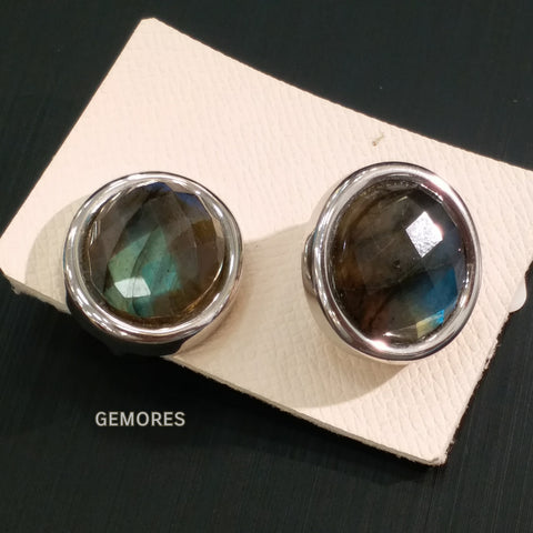 Le Emmalyn plus size faceted rainbow labradorite in silver