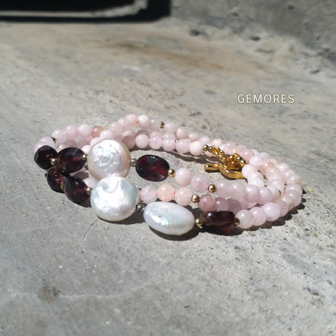 En Saison pink morganite with burgundy garnet charm bracelet