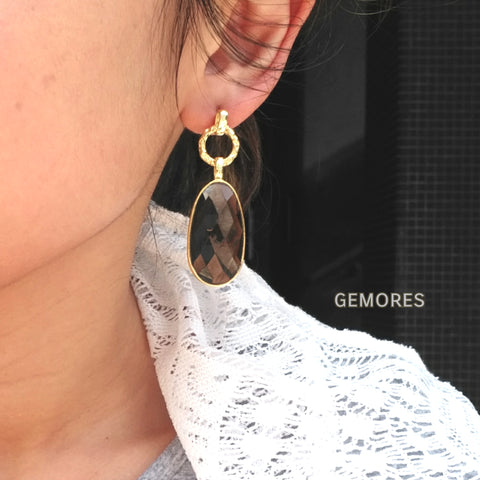 Le Emmalyn sparkle smoky quartz earrings in gold