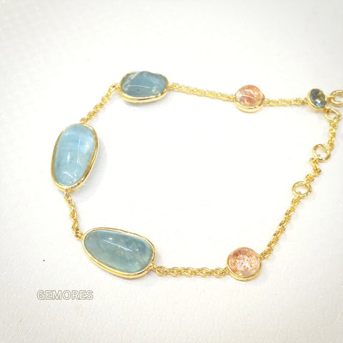 The Bespoke- sparkle sunstone & aqua gems bracelet in 18K gold plated