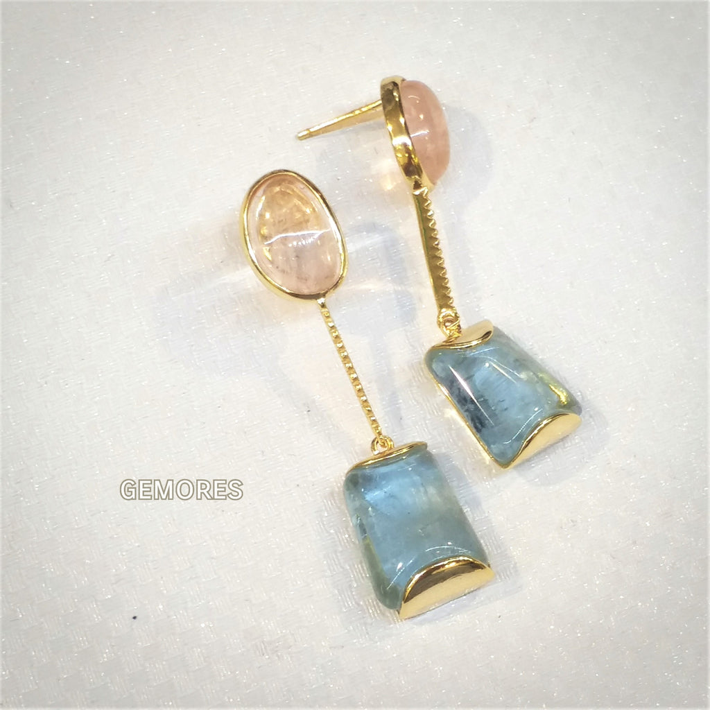 f30e80606 Beryl cut aquamarine morganite earrings in 18K gold plated – Gemores