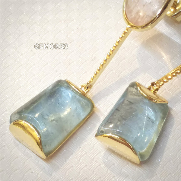 Beryl cut aquamarine morganite earrings in 18K gold plated