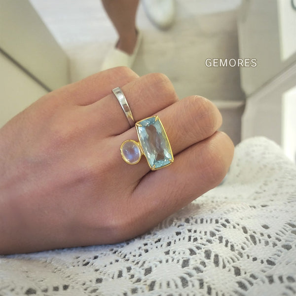 The Bespoke- Sri Lanka rainbow moonstone & Brazilian aquamarine ring in 18K gold plated