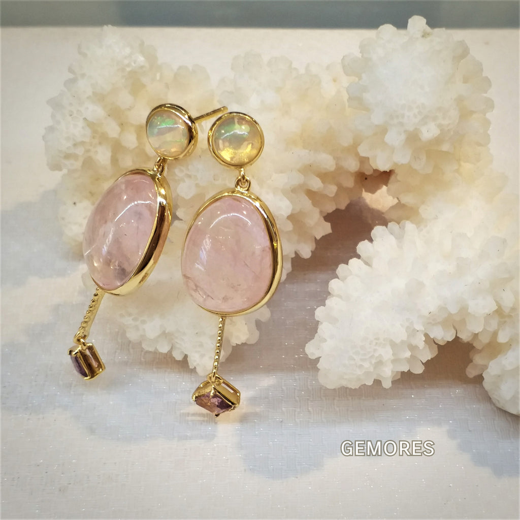 252326252 The Bespoke - Opal morganite earrings in 18K gold plated – Gemores