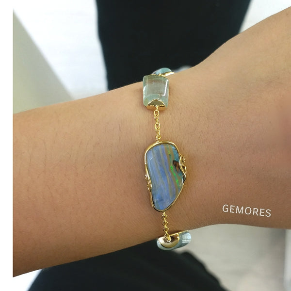The Bespoke- Australia opal braclet in 18K gold plated