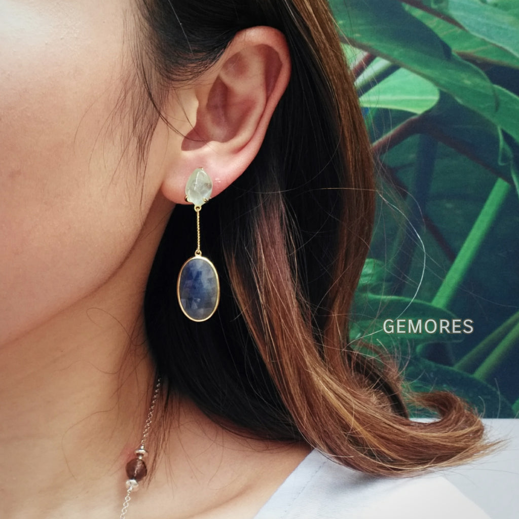 Brazilian blue Aqua rough cut earrings with blue sapphire in 18K gold plated