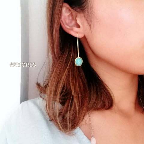 En Saison Poland amazonite gems 18K white gold earrings