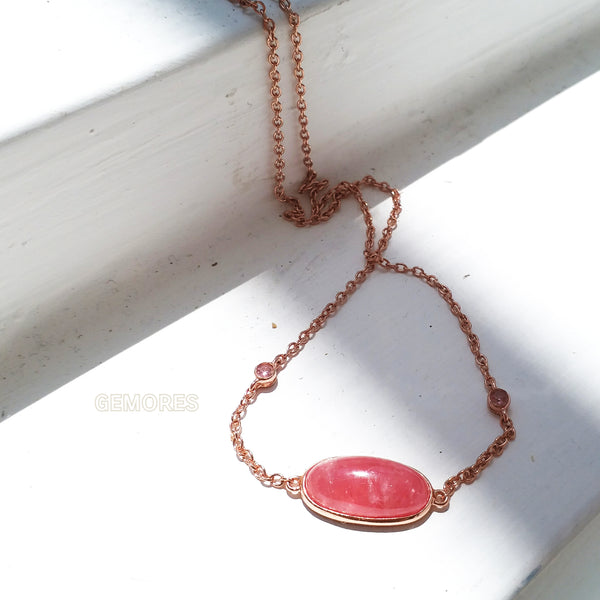 Astrid necklace gem set in Argentina rhodochrosite