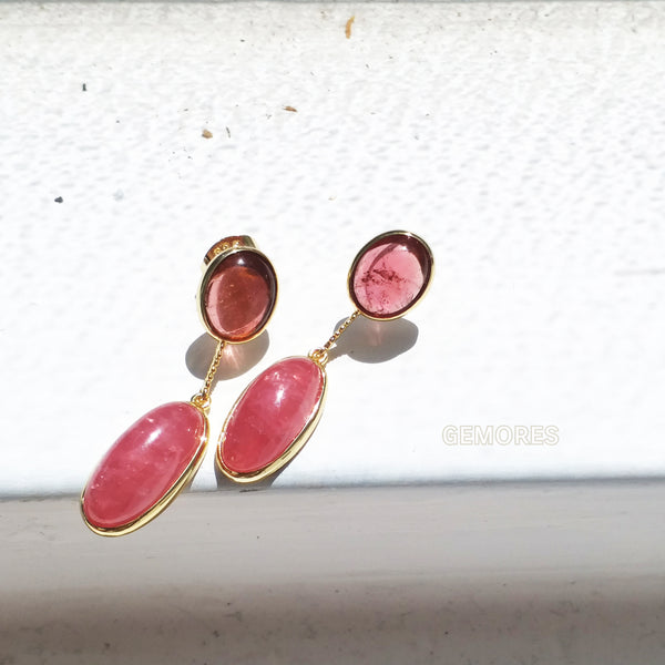 Astrid gold earrings in Argentina rhodochrosite & pink tourmaline