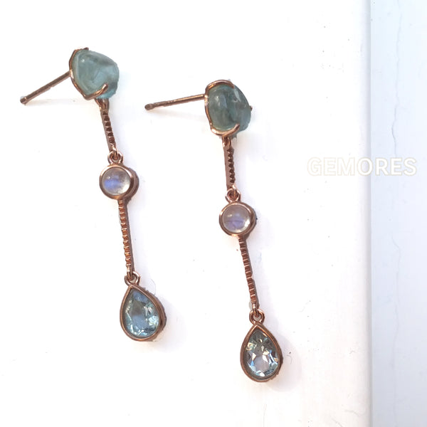 Beryl rough cut aquamarine drop earrings in 18K gold plated