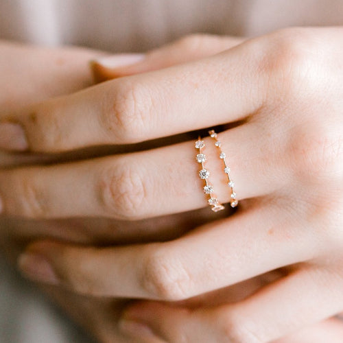 Petite White Diamond Band Ring