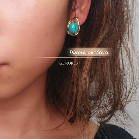 En Saison aria peru amazonite stud earrings