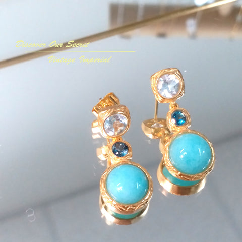 Vintage Imperial peru amazonite with topaz Earrings in gold