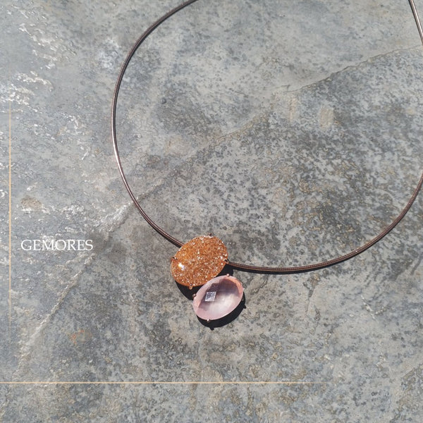 Raw Gems collection sparkle druzy quartz in rose gold necklace