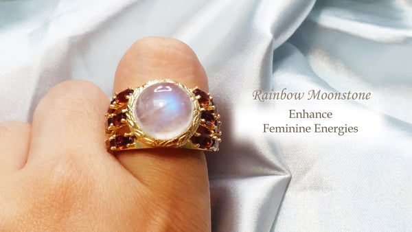 Astrid Collection cocktail ring set in lustrous rainbow moonstone