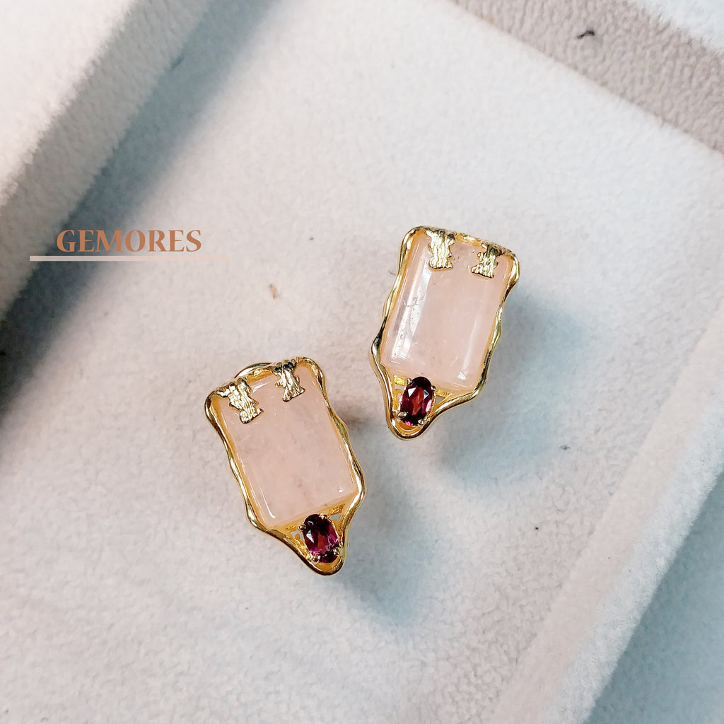 46a1e6bb6 Vintage Imperial pink morganite with burgundy garnet Earrings in gold