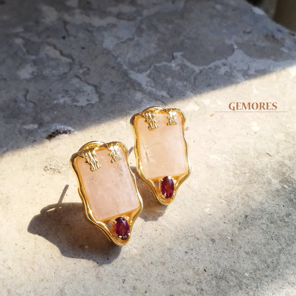 Vintage Imperial pink morganite with burgundy garnet Earrings in gold
