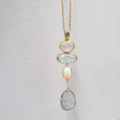 The Bespoke - Blue aqua opal long necklace in gold