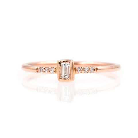 18K Gold Petite Baguette Diamond Band Ring
