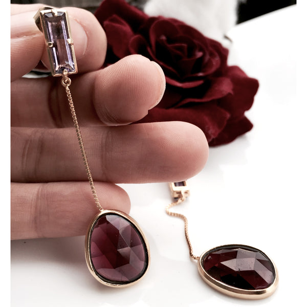 Astrid gold earrings in burgundy garnet & pink amethyst