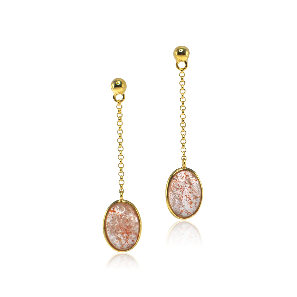 Astrid Collection Sunstone 18K gold Earrings