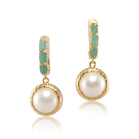 Vintage Imperial Emerald Pearl Earrings