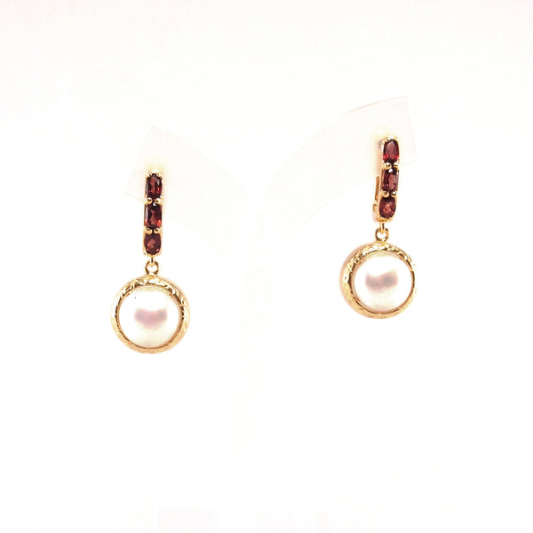 Vintage Imperial Garnet Pearl Earrings
