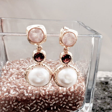 Vintage Imperial burgundy garnet with Pearl Earrings