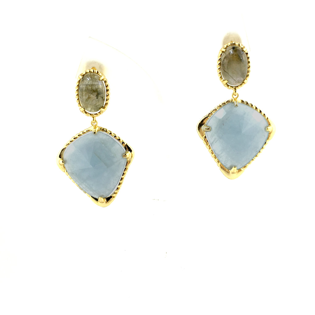 Raw Gems Rainbow labradorite with baby blue aqua gold earrings